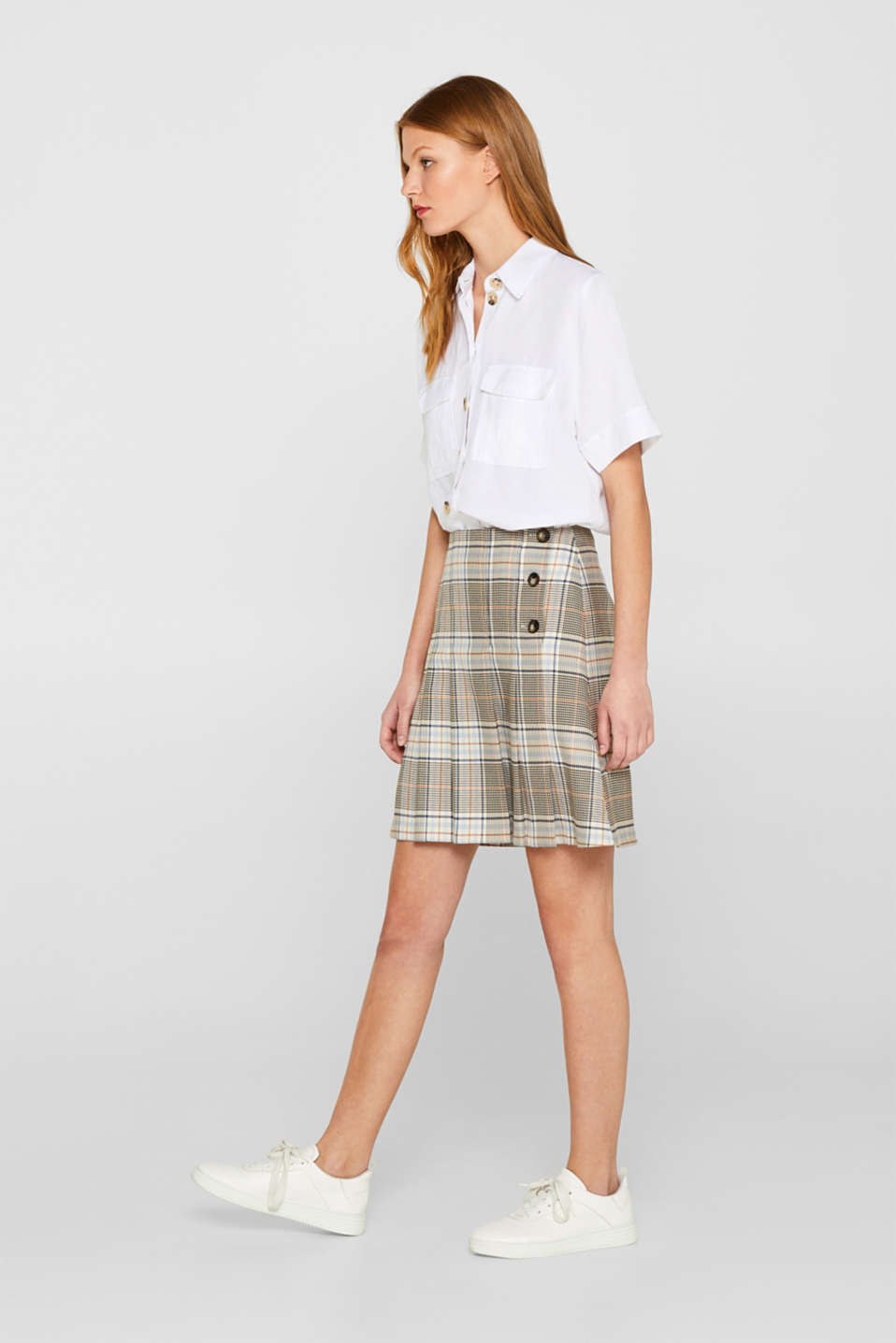edc - Pleated stretch skirt with a check pattern and button placket