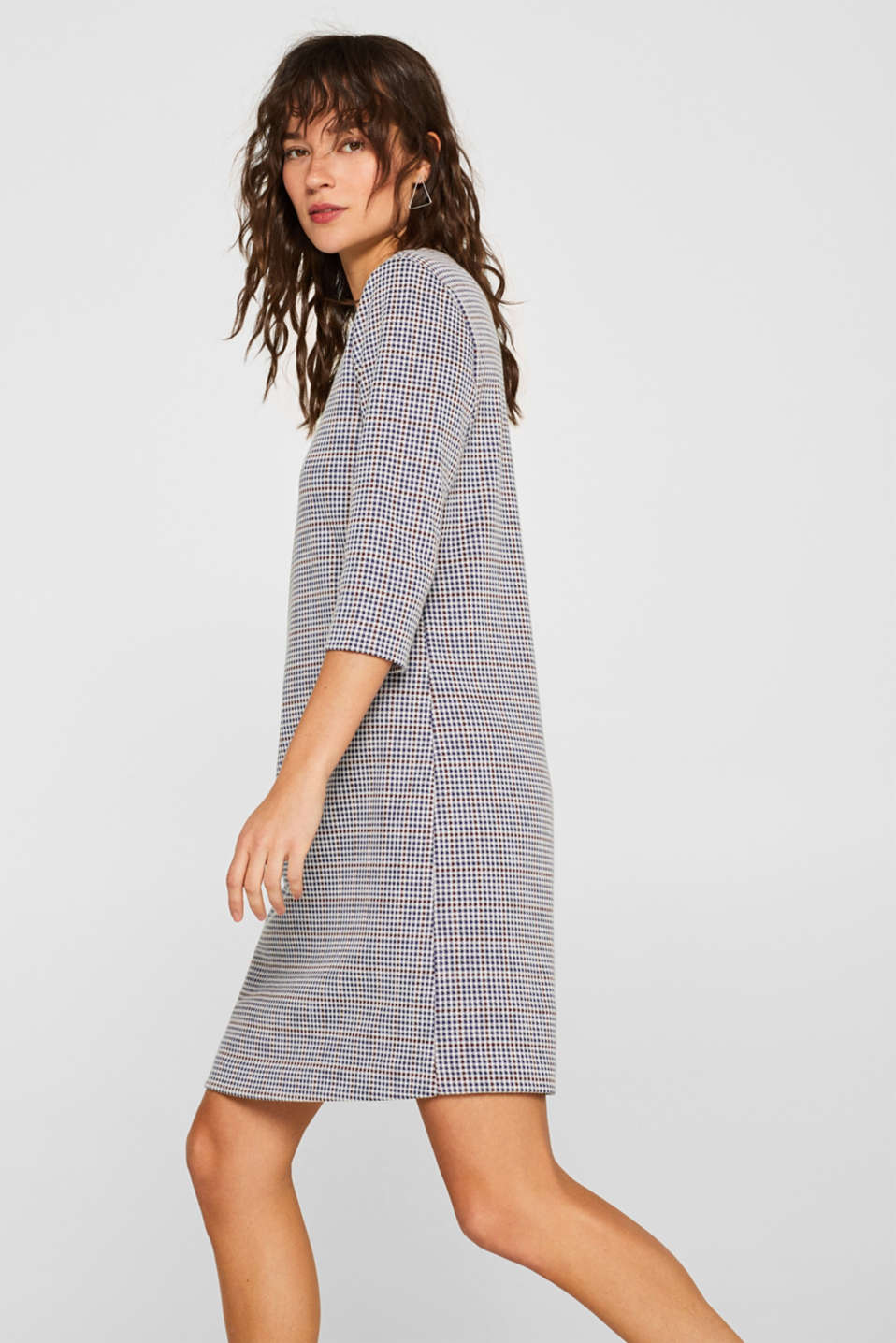 edc - Stretch jersey dress with a check pattern