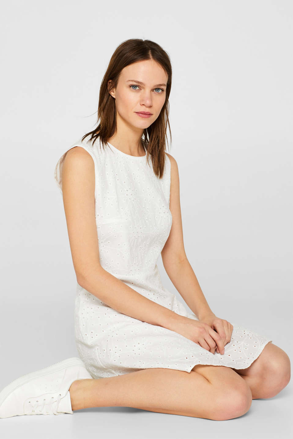 edc - Dress with broderie anglaise, 100% cotton