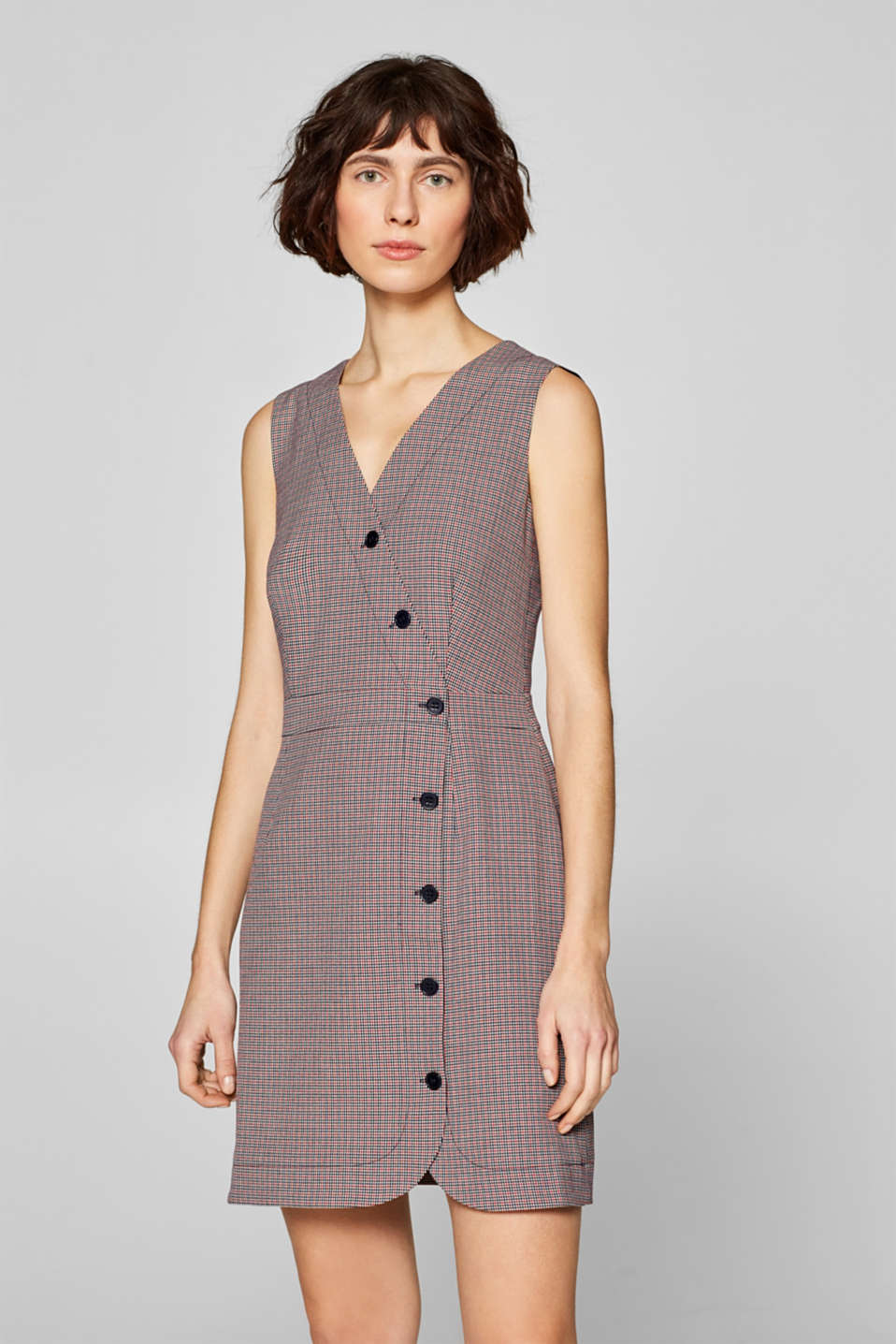edc - Sleeveless dress with a houndstooth check pattern