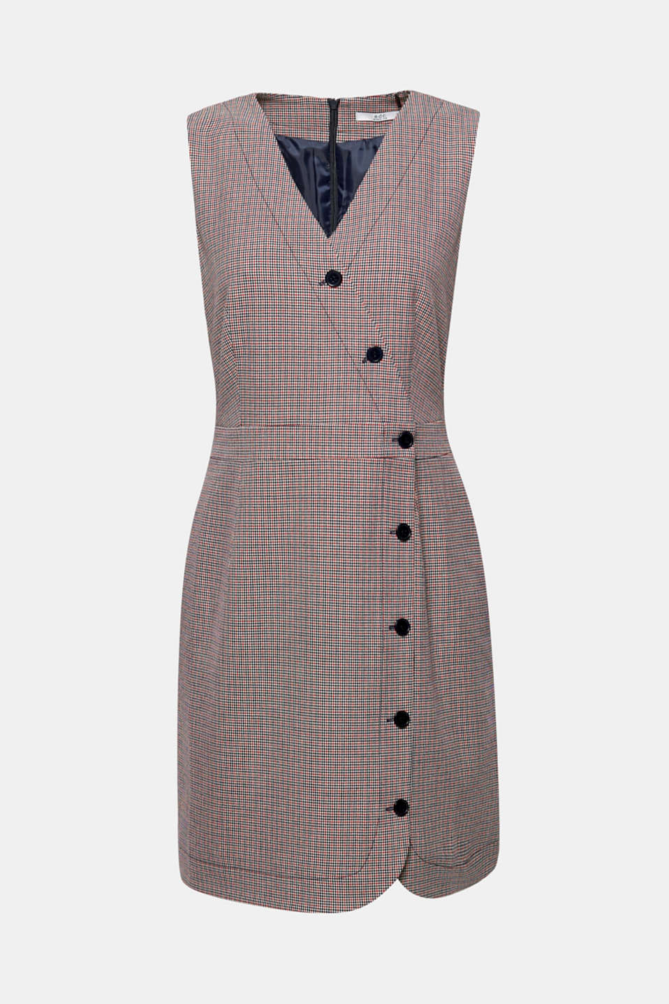 Sleeveless dress with a houndstooth check pattern