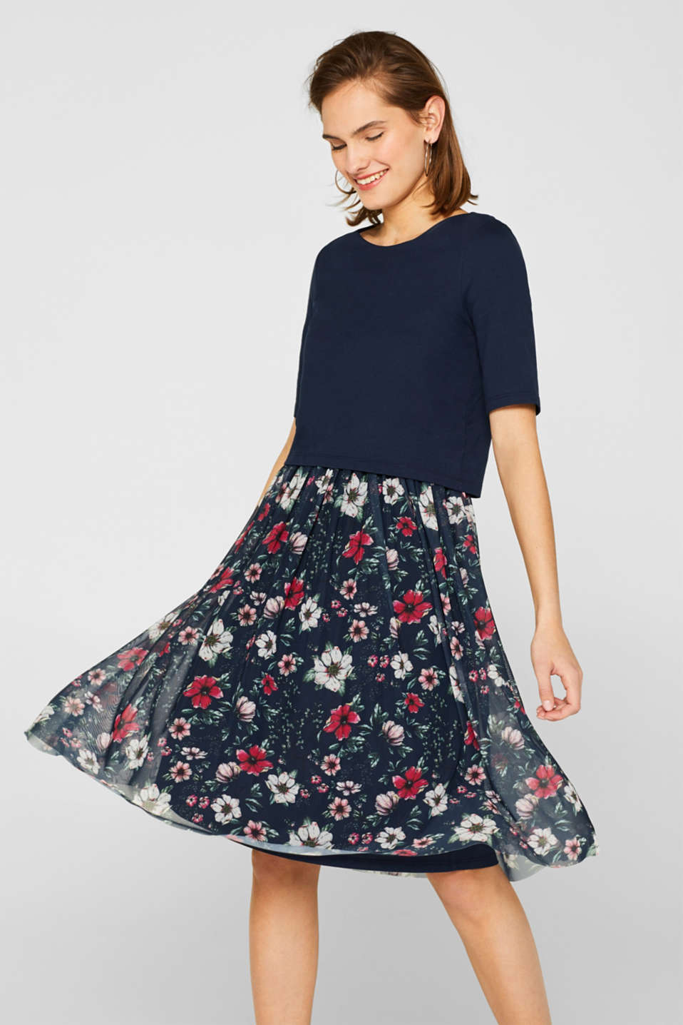 edc - Mixed material dress with a flowery mesh skirt