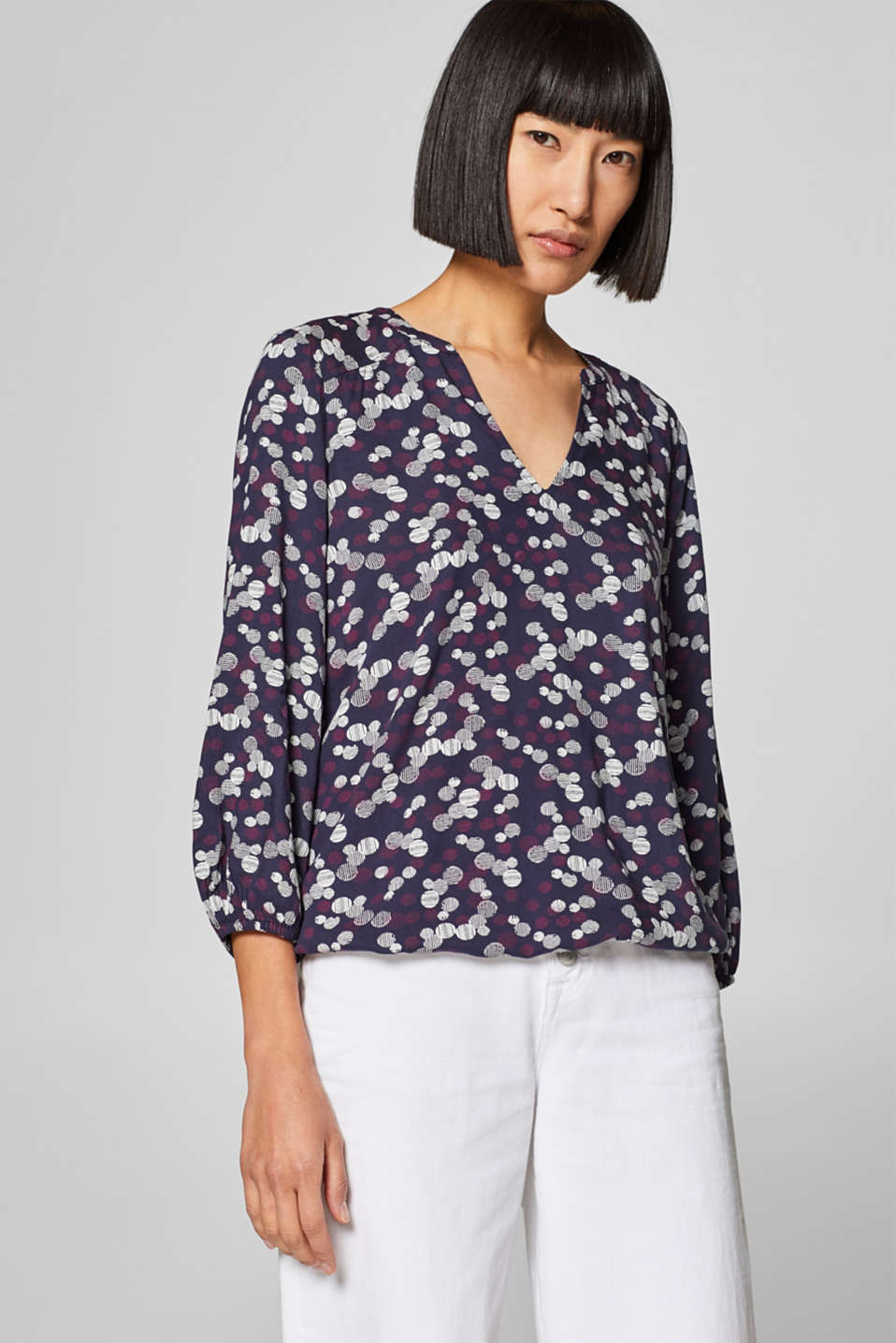 edc - Henley blouse with a new mini print