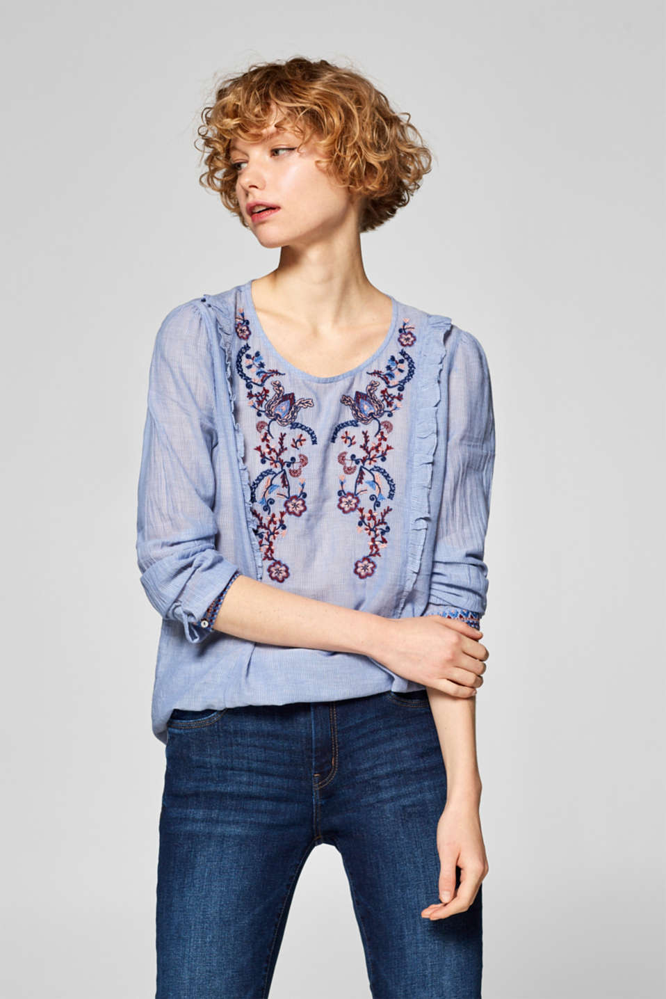edc - Striped blouse with embroidery, 100% cotton