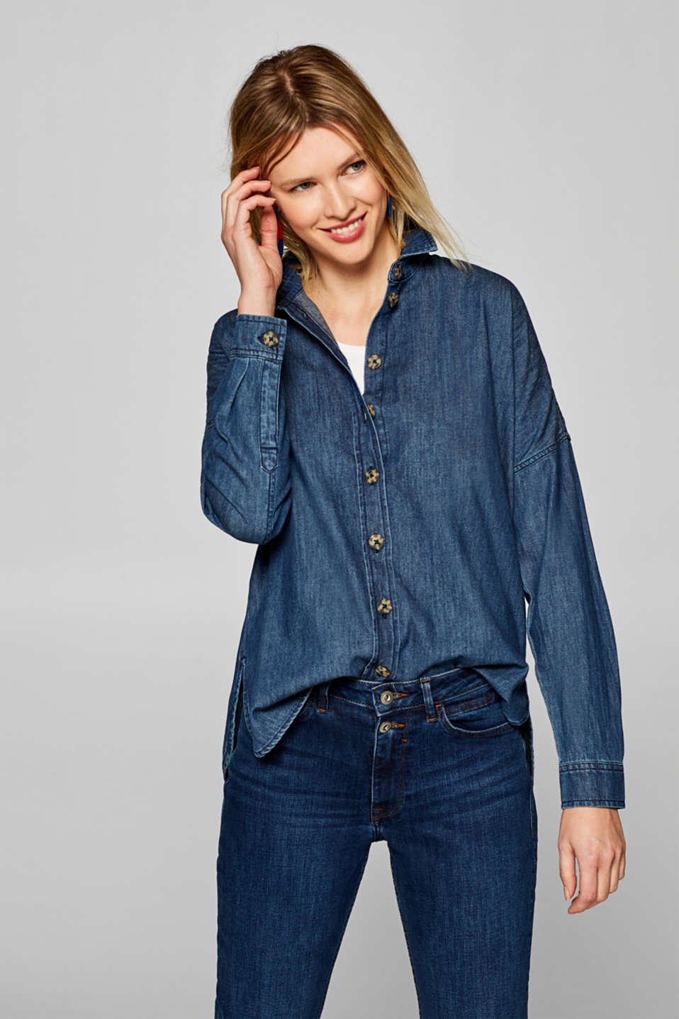 edc - Simple denim shirt with a high-low hem
