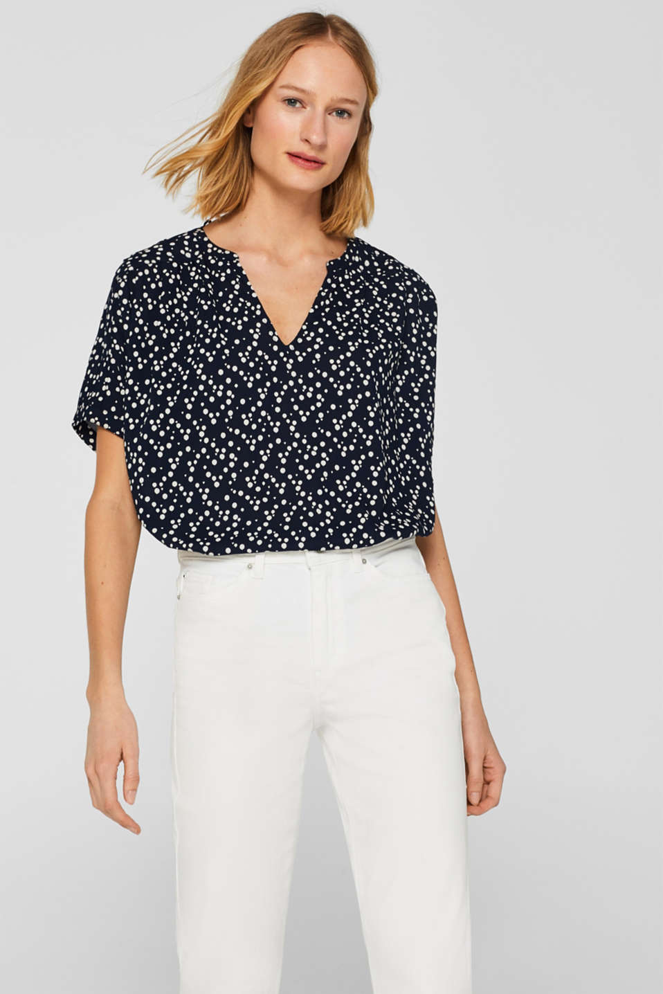 edc - Printed blouse with shoulder pleats