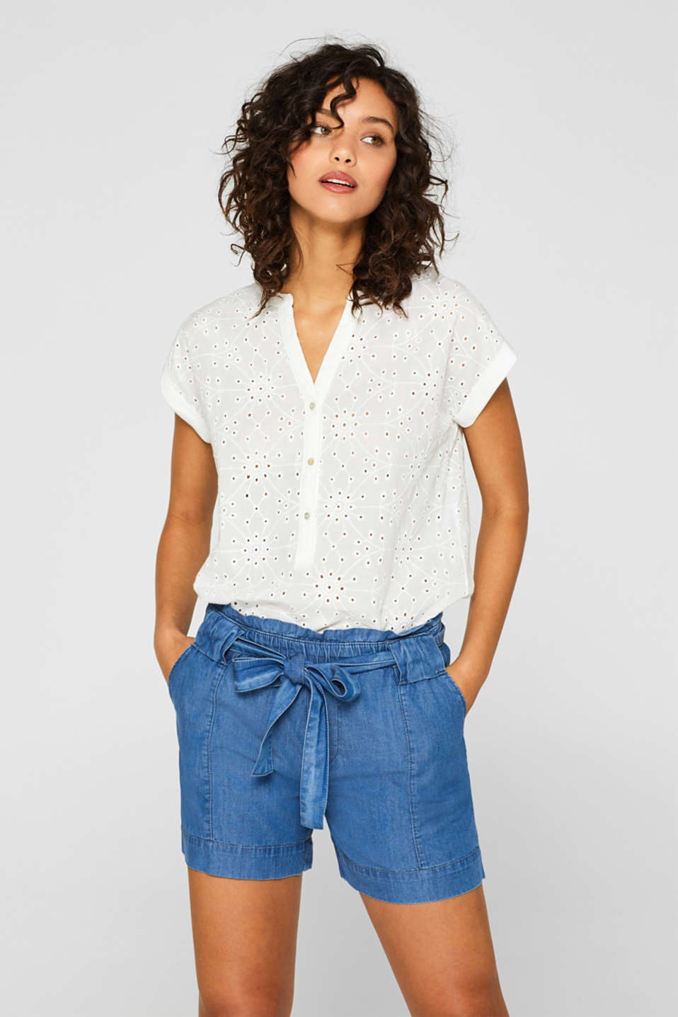 edc - Chemisier à broderie anglaise, 100 % coton