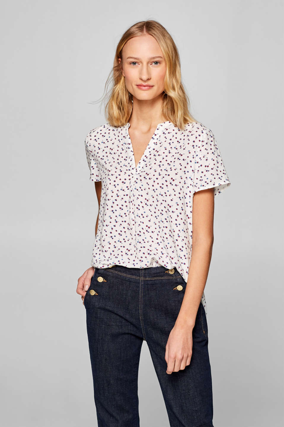 edc - Print blouse with an accentuated high-low hem