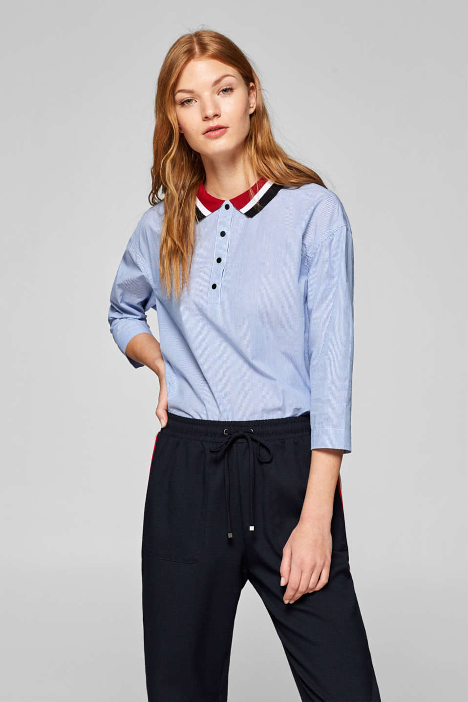 edc - Cotton blouse with a polo collar