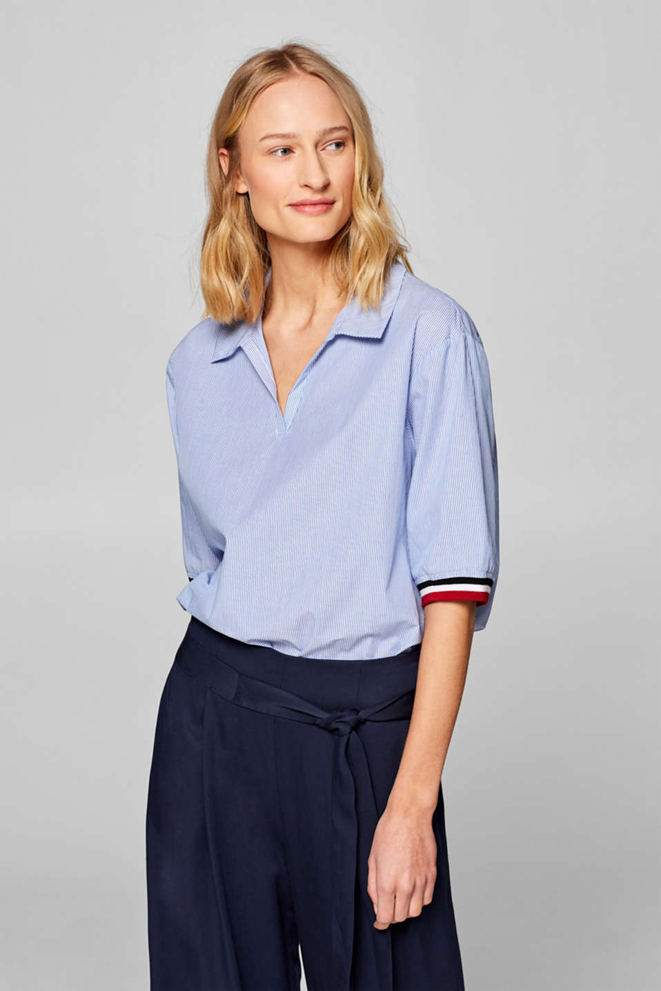 edc - Blouse with a polo shirt details, 100% cotton