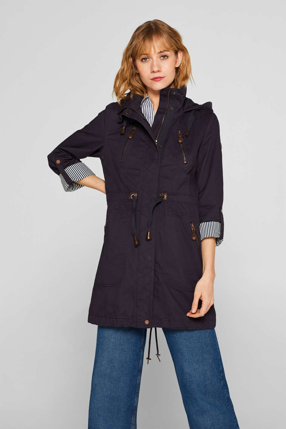 edc - Parka with faux leather details