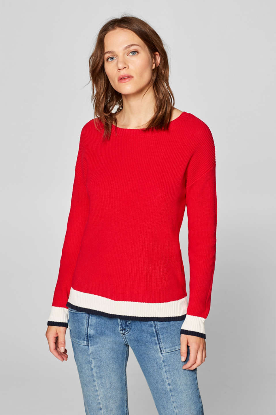 edc - Contrasting detail jumper, 100% cotton