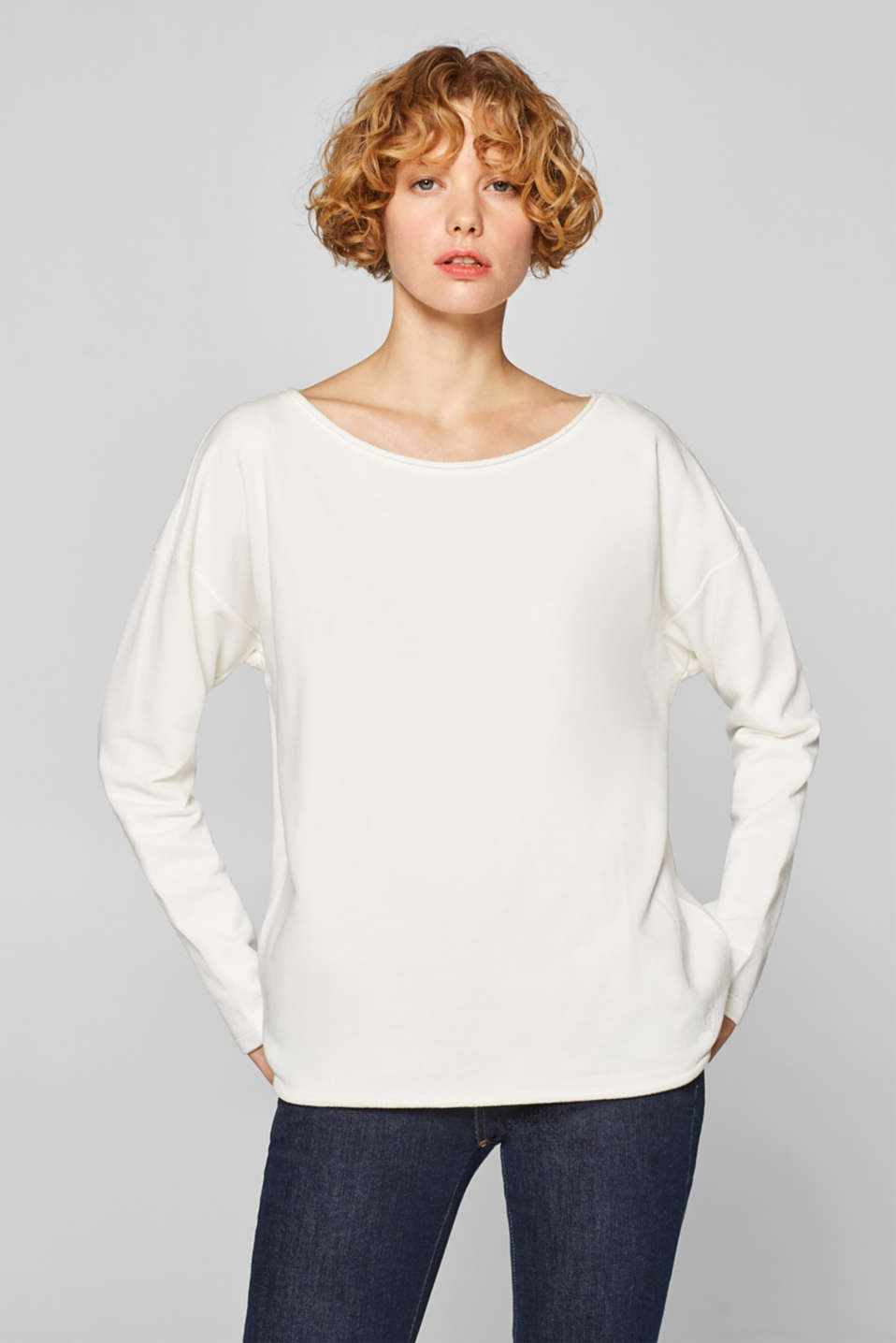 edc - Sweat-shirt à bords roulottés, 100 % coton