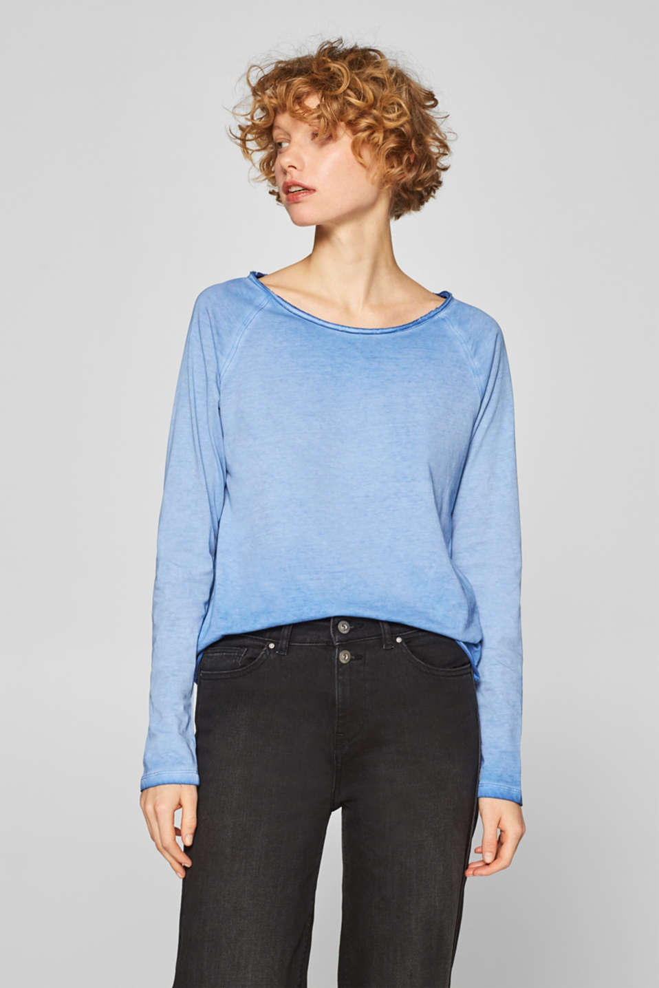 edc - Coolly dyed long sleeve top, 100% cotton