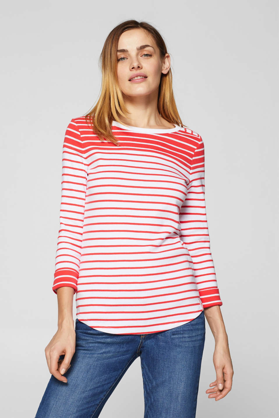 edc - Striped T-shirt with a button placket, 100% cotton