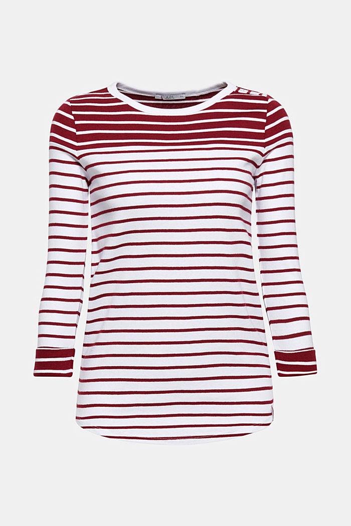 Streifen-Shirt mit Knopfleiste, 100% Baumwolle, GARNET RED, detail image number 0