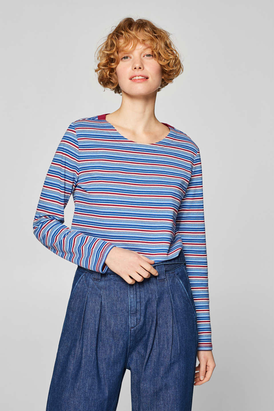 edc - Striped piqué long sleeve top, 100% cotton
