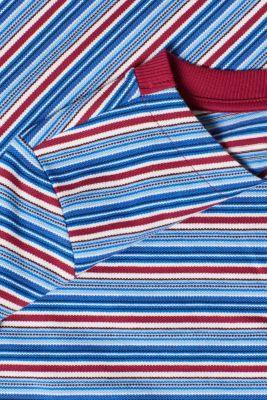 Striped piqué long sleeve top, 100% cotton