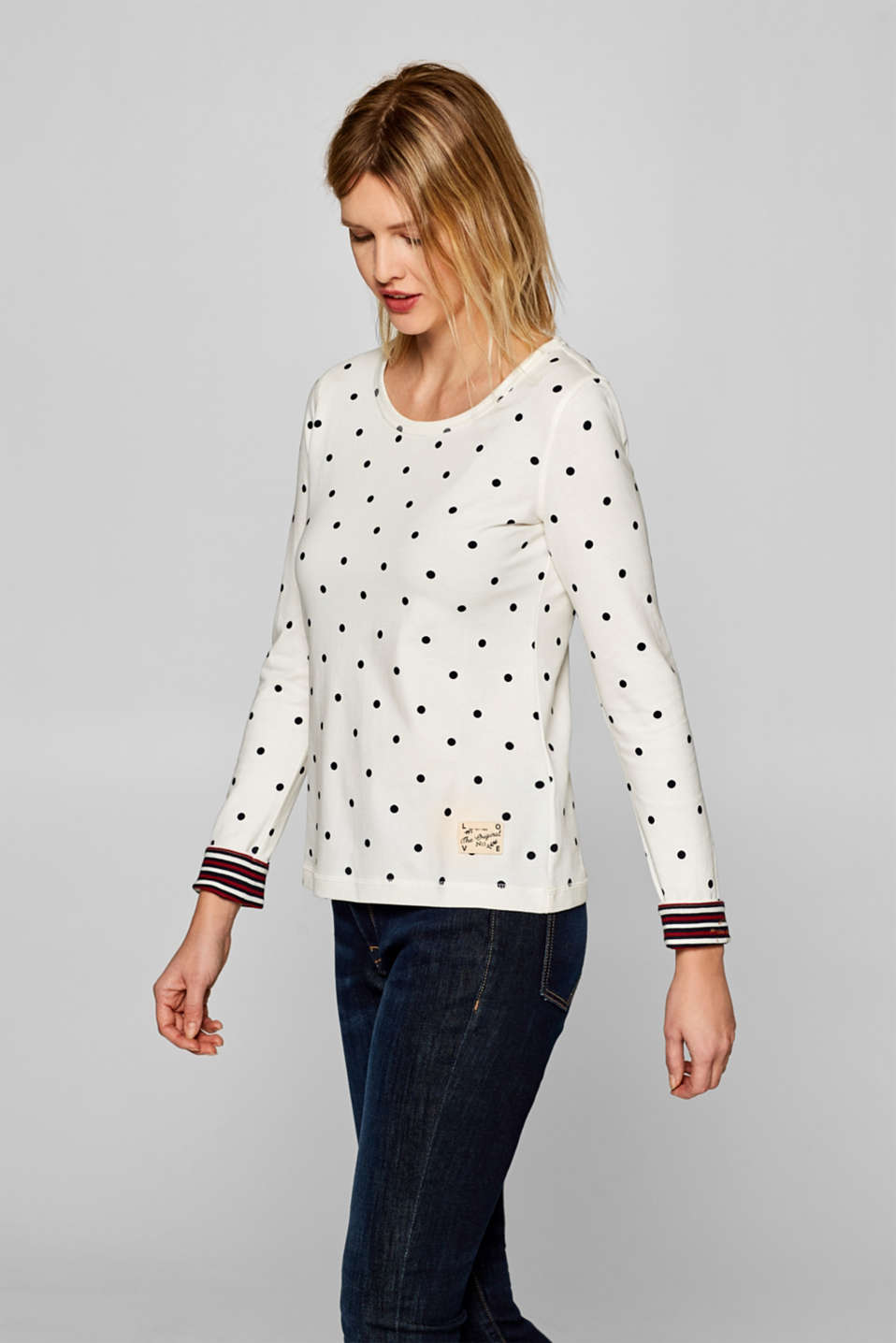 edc - Long sleeve top with polka dots, 100% cotton