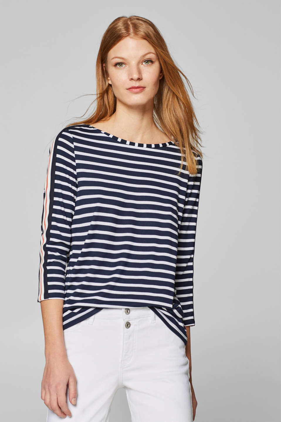 edc - Striped top with racing stripes