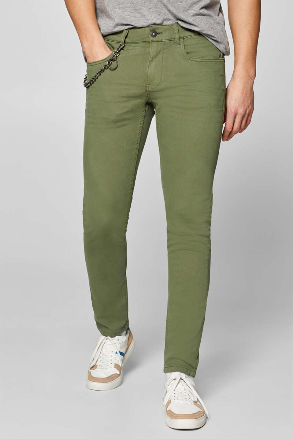 edc - Stretch trousers with chain