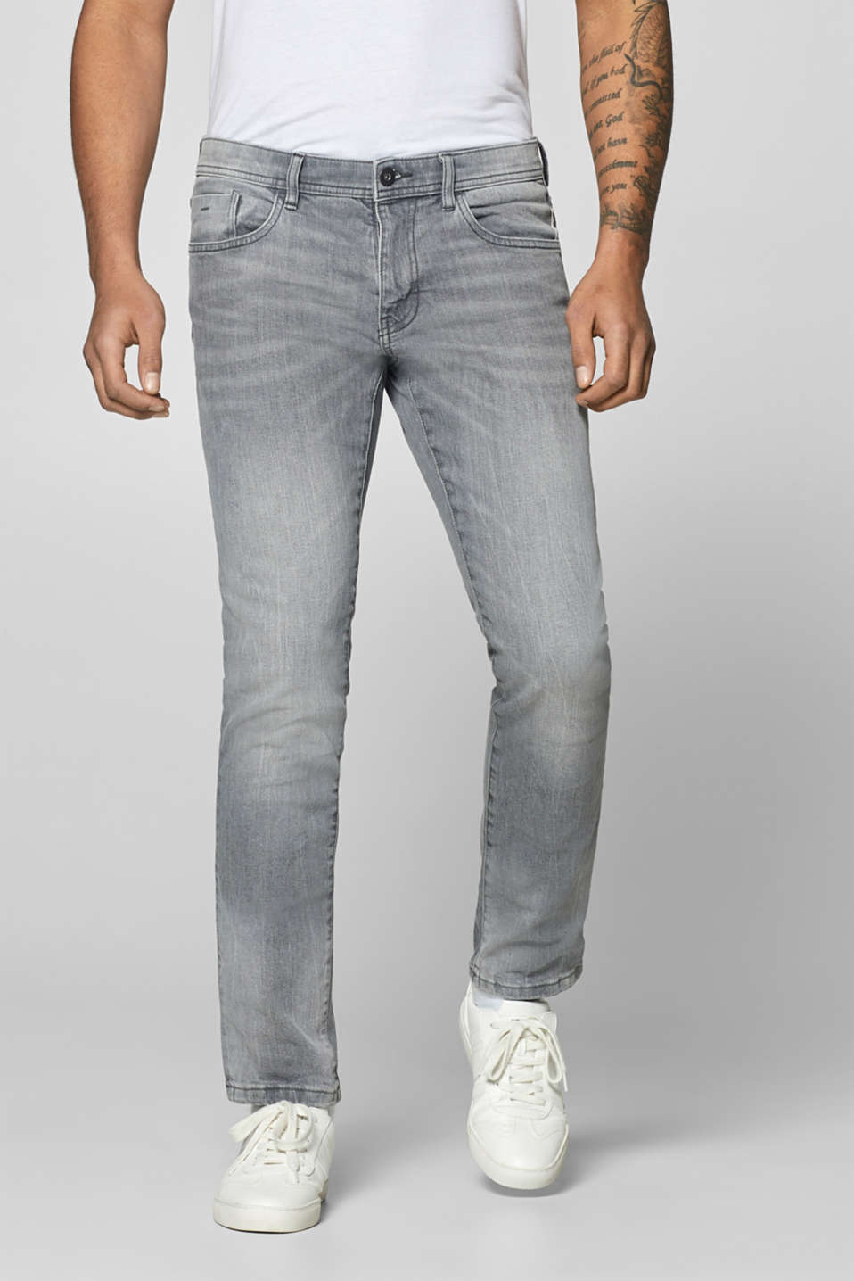 edc - Stretch-Jeans mit Washed Out-Effekten