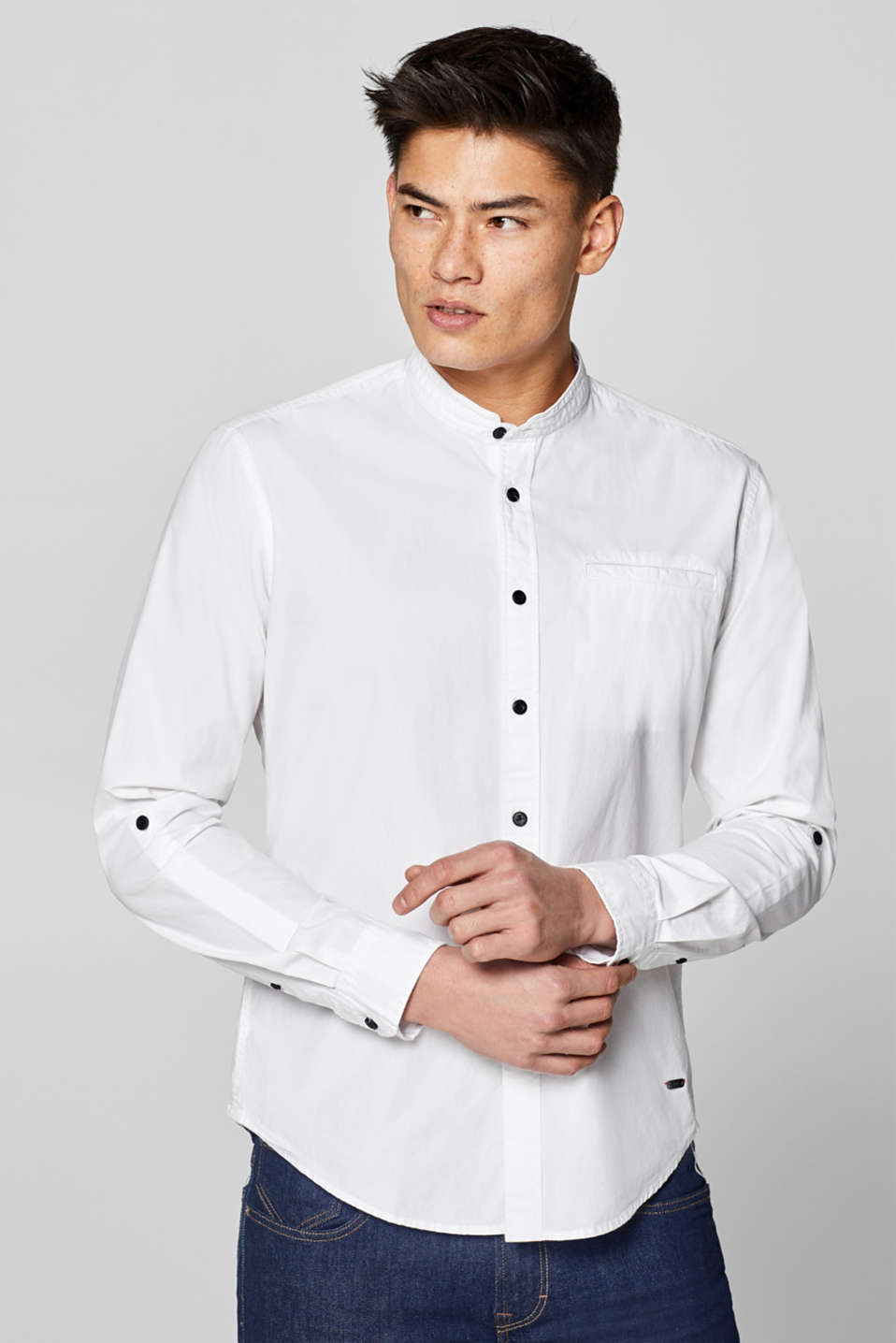 edc - Shirt with band collar, 100% cotton