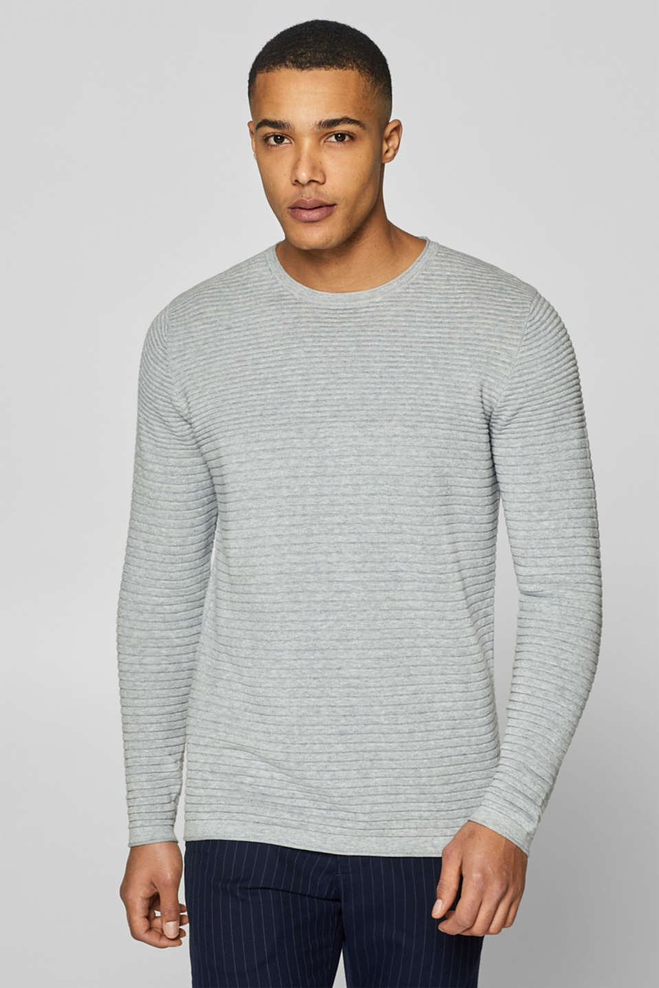 edc - Jumper with textured stripes, 100% cotton