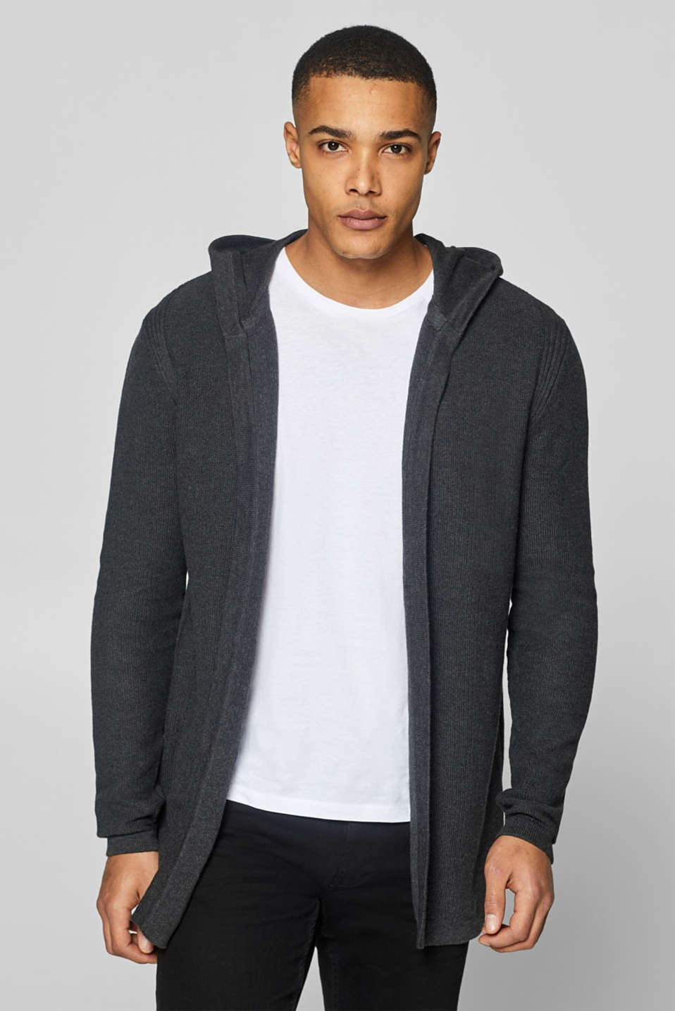 edc - Open cardigan with hood, 100% cotton