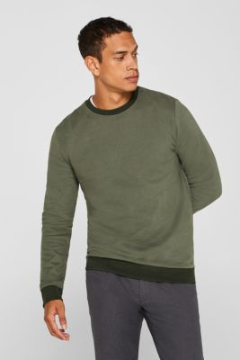 Sweatshirt in 100% cotton, KHAKI GREEN, detail