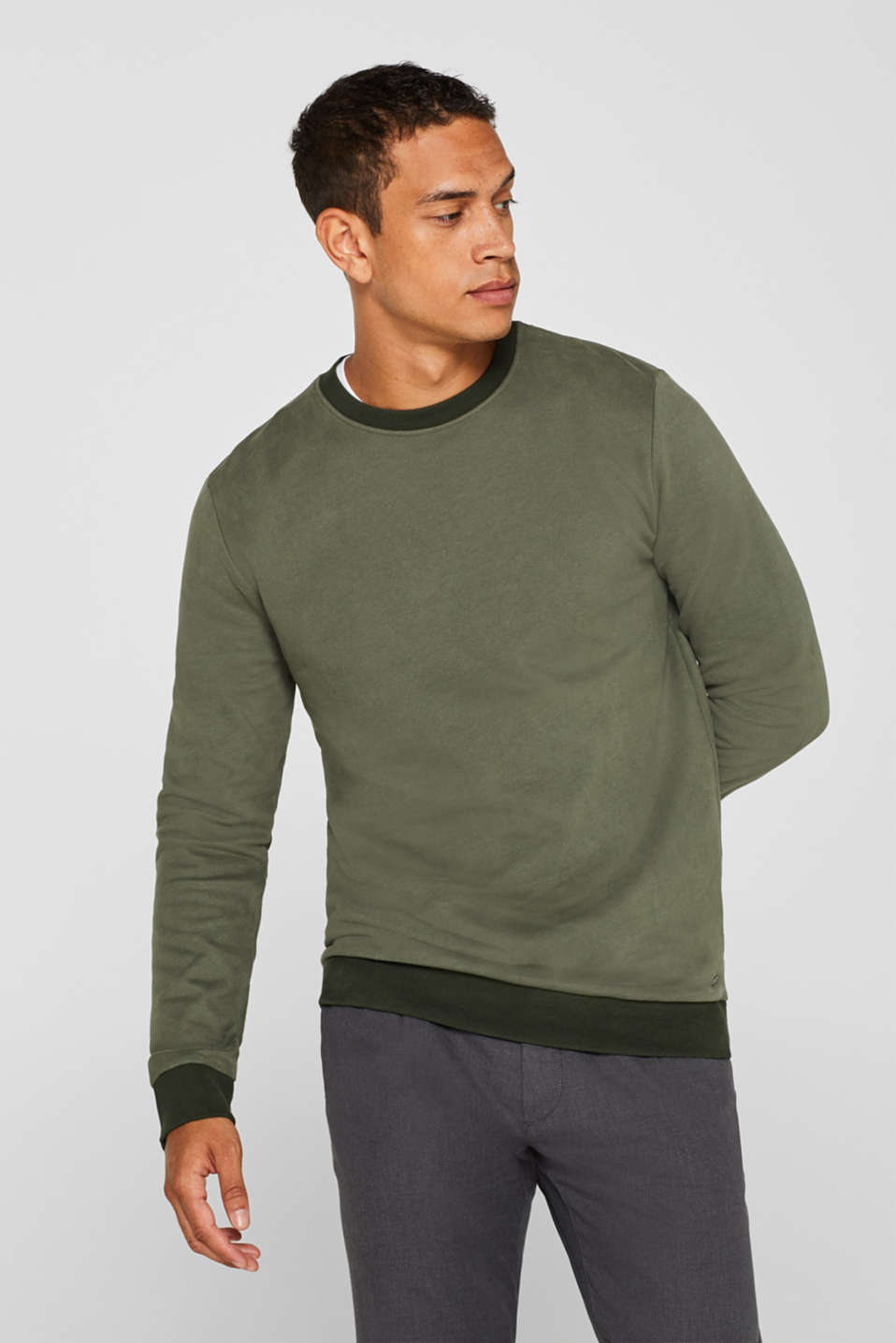 Sweatshirt in 100% cotton, KHAKI GREEN, detail image number 0