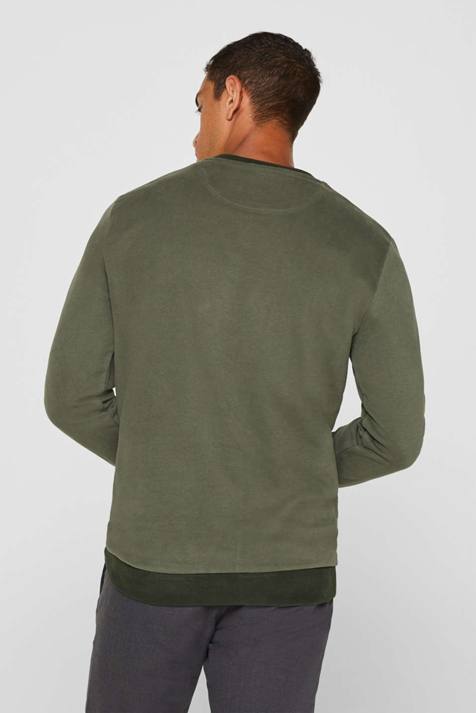 Sweatshirt in 100% cotton, KHAKI GREEN, detail image number 2