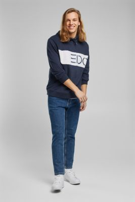 Hoodie with logo print, 100% cotton, NAVY, detail