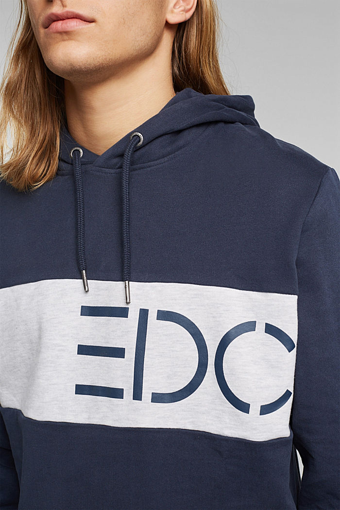 Hoodie with logo print, 100% cotton, NAVY, detail image number 2