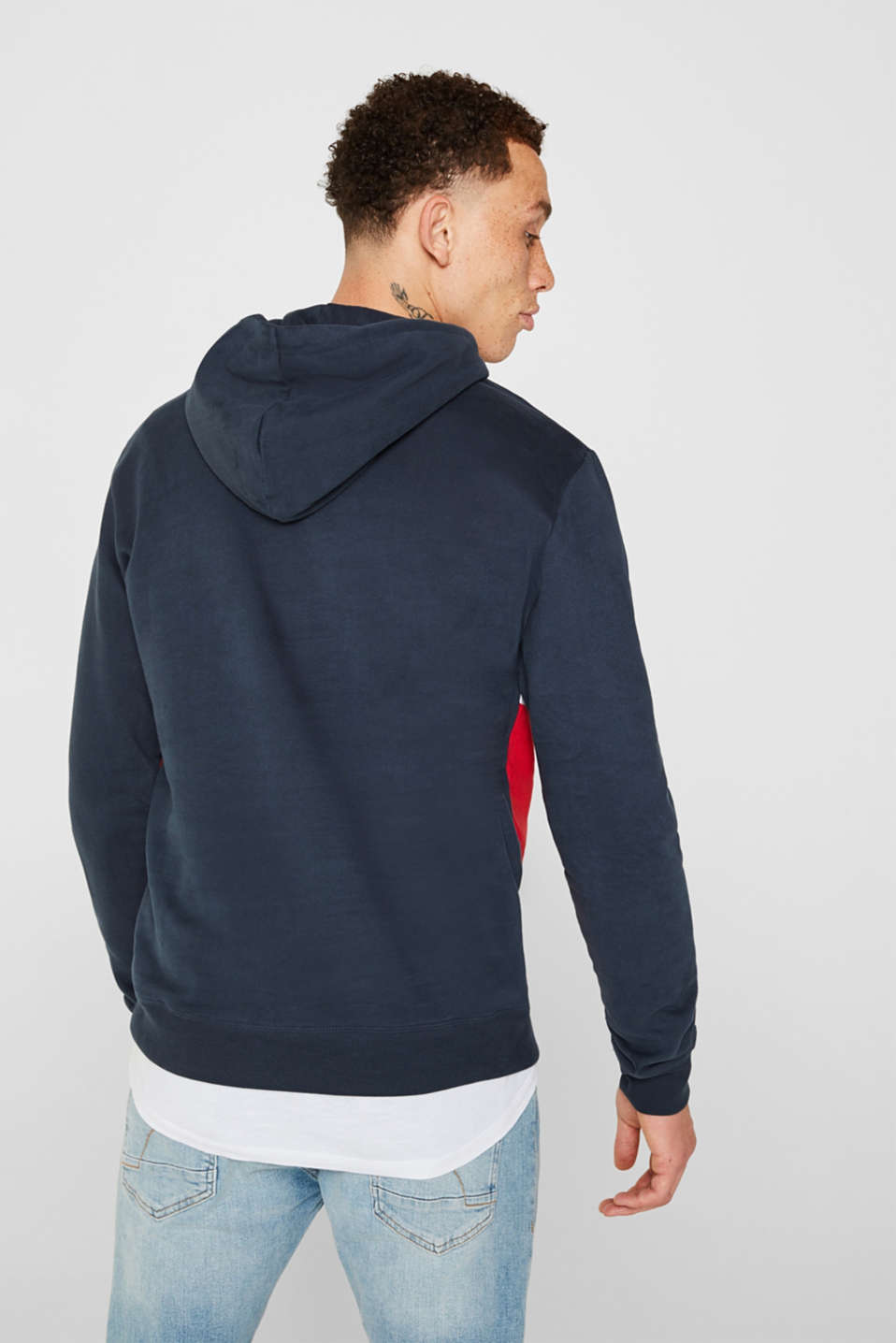 Hoodie with logo print, 100% cotton, RED, detail image number 3