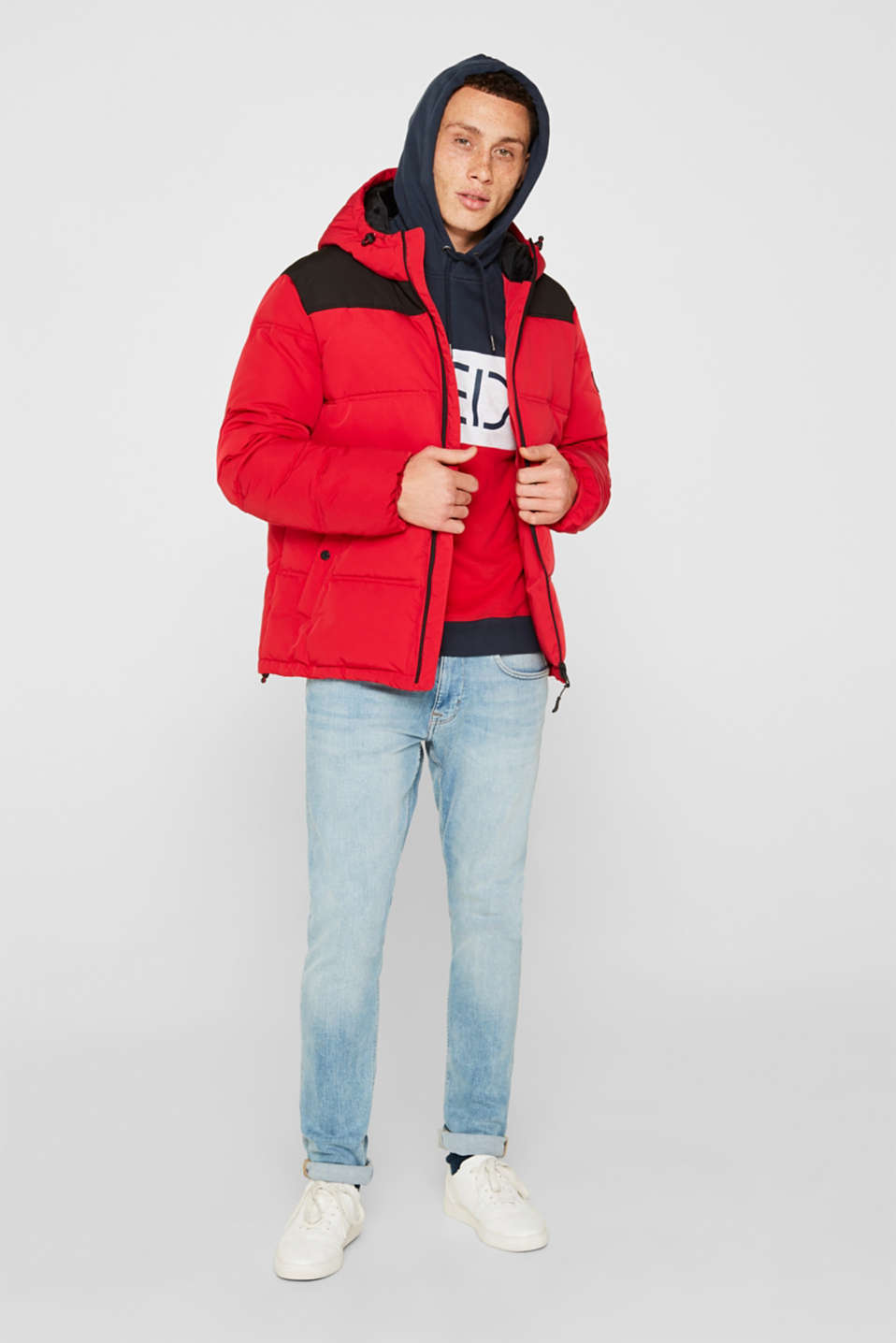 Hoodie with logo print, 100% cotton, RED, detail image number 1