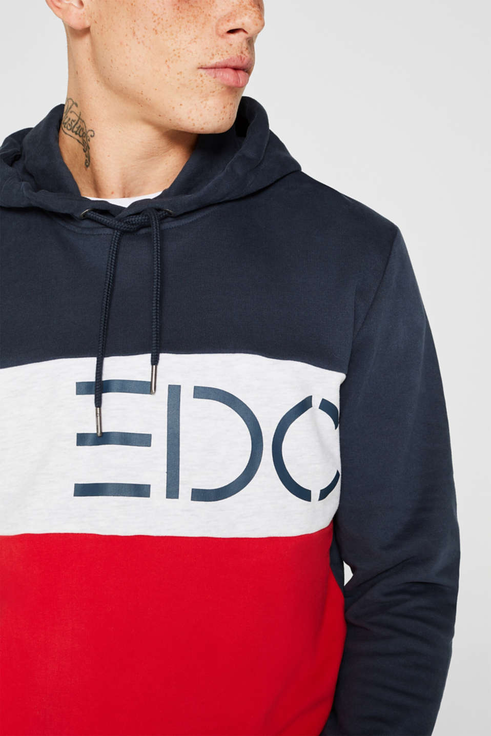 Hoodie with logo print, 100% cotton, RED, detail image number 2