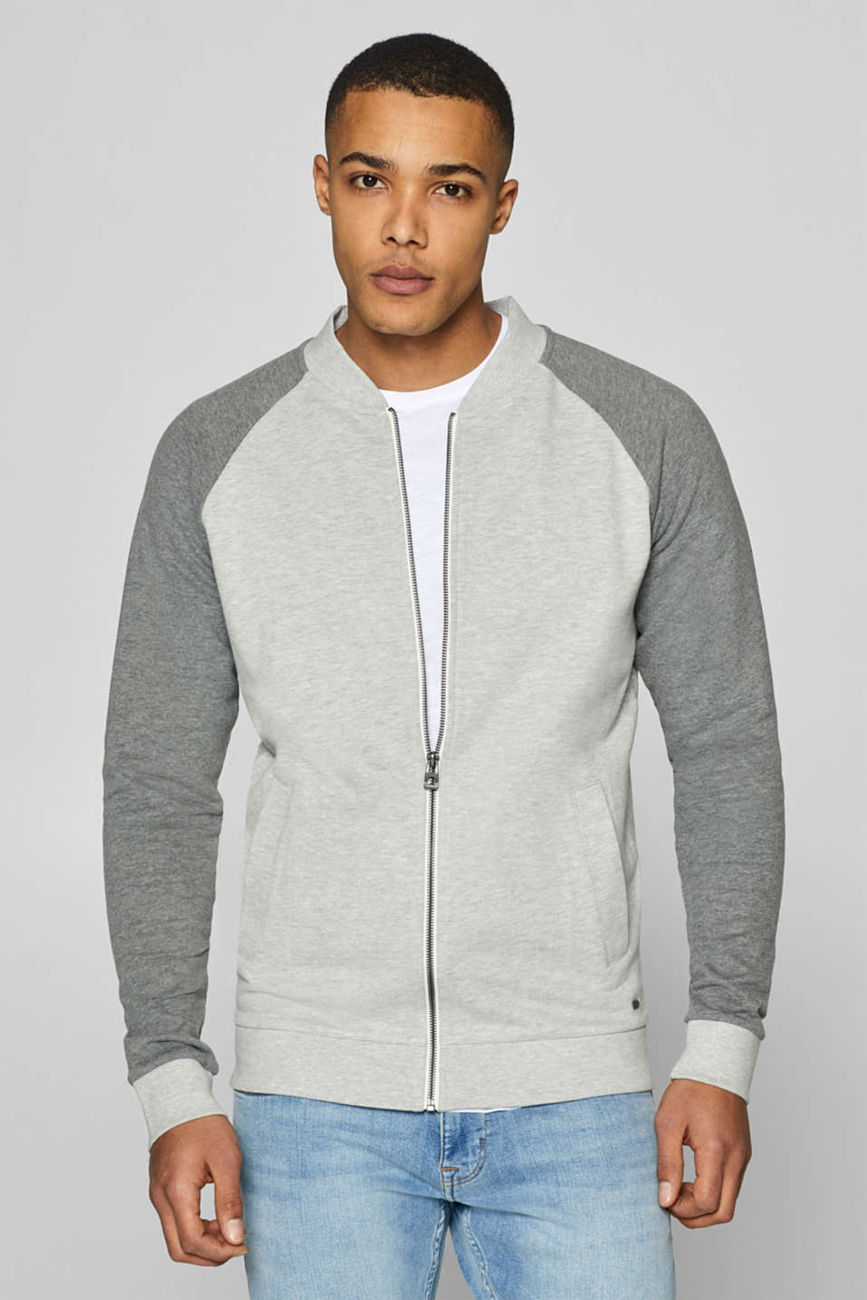 edc - Sweat-Cardigan aus Baumwoll-Mix