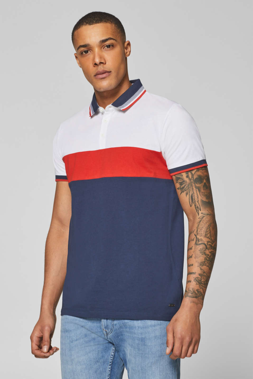edc - Jersey polo shirt in 100% cotton