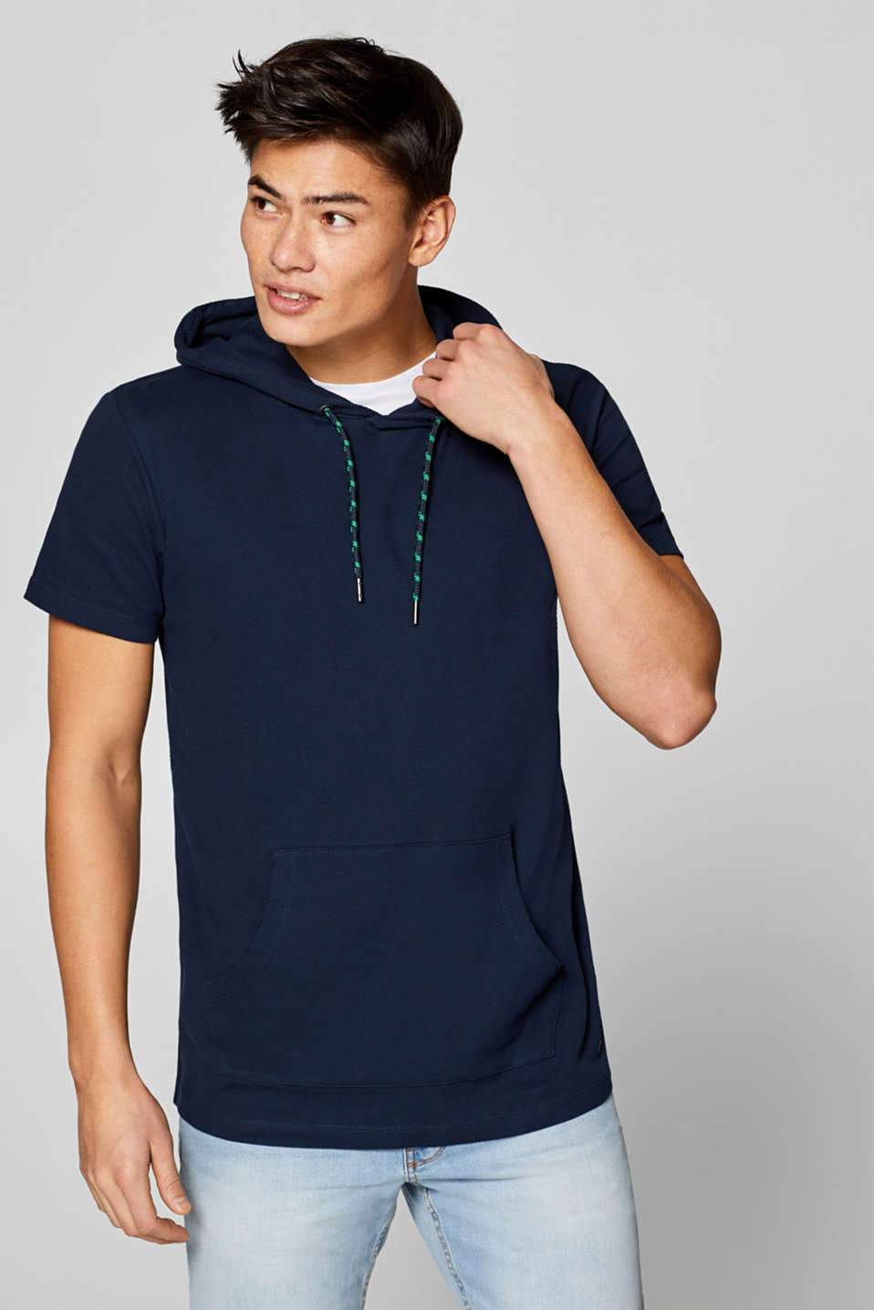 edc - Jersey t-shirt with a hood, 100% cotton