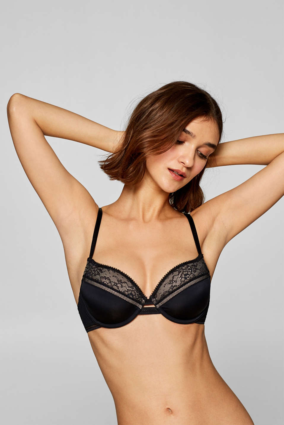 edc - Mixed material padded underwire bra