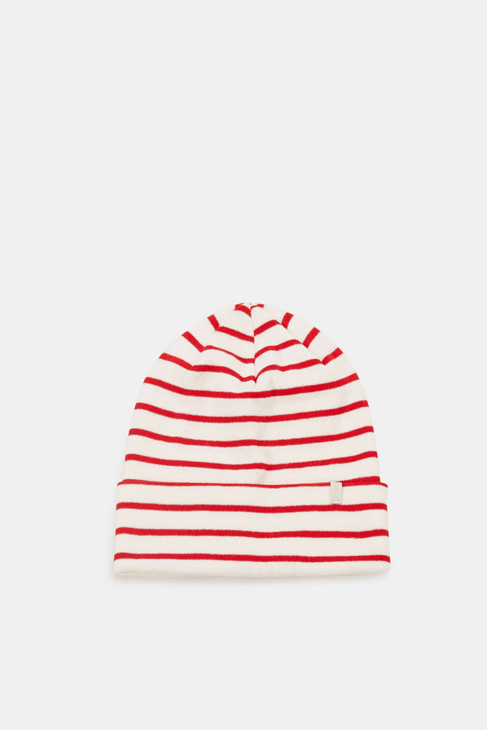 Esprit - Striped beanie with a turned-back border