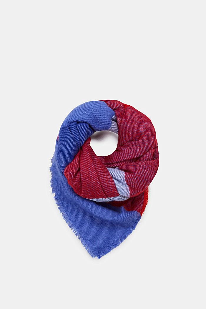 Oversized tørklæde med blokstriber, BRIGHT BLUE, detail image number 0
