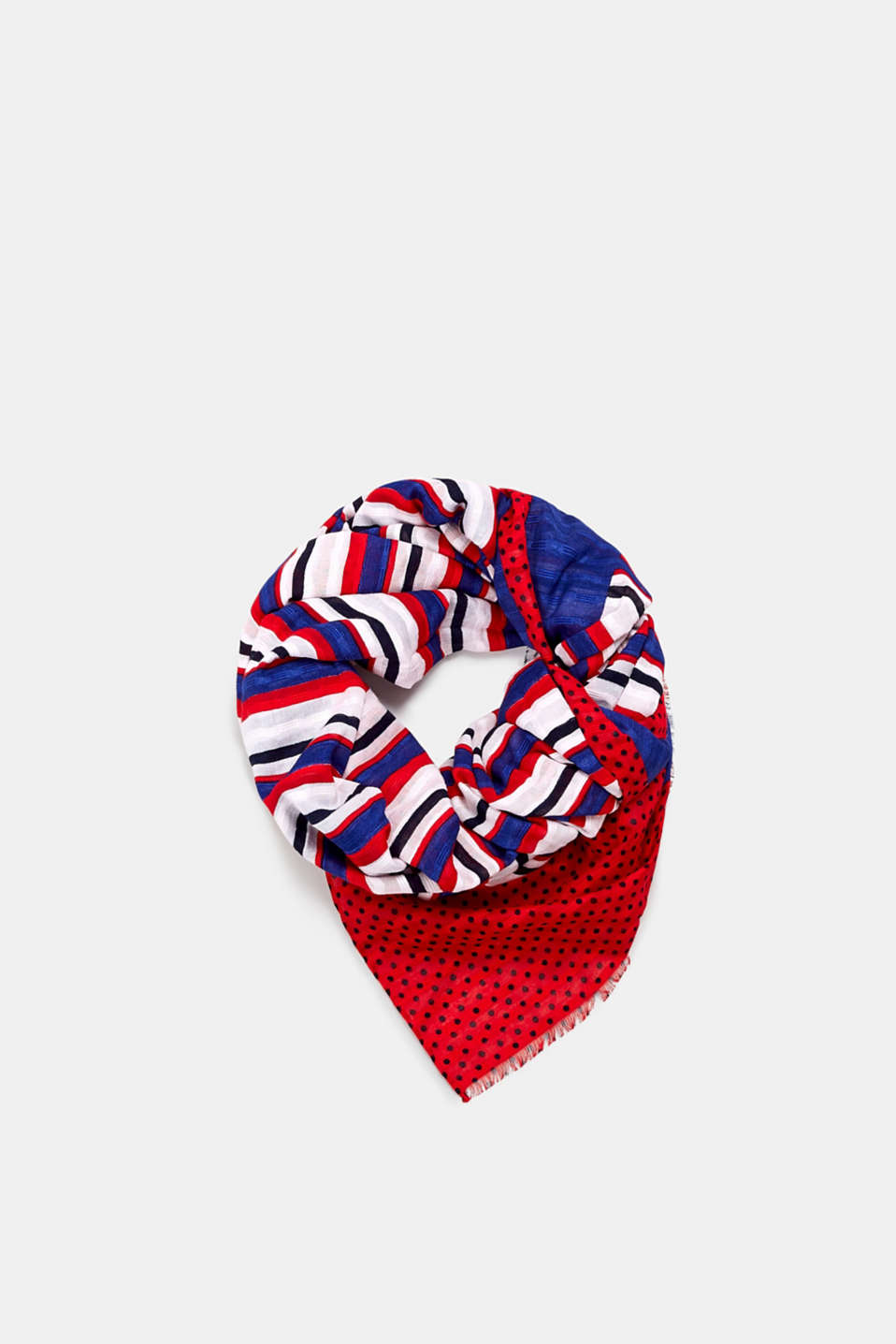 Esprit - Woven scarf with a mixed pattern, 100% cotton