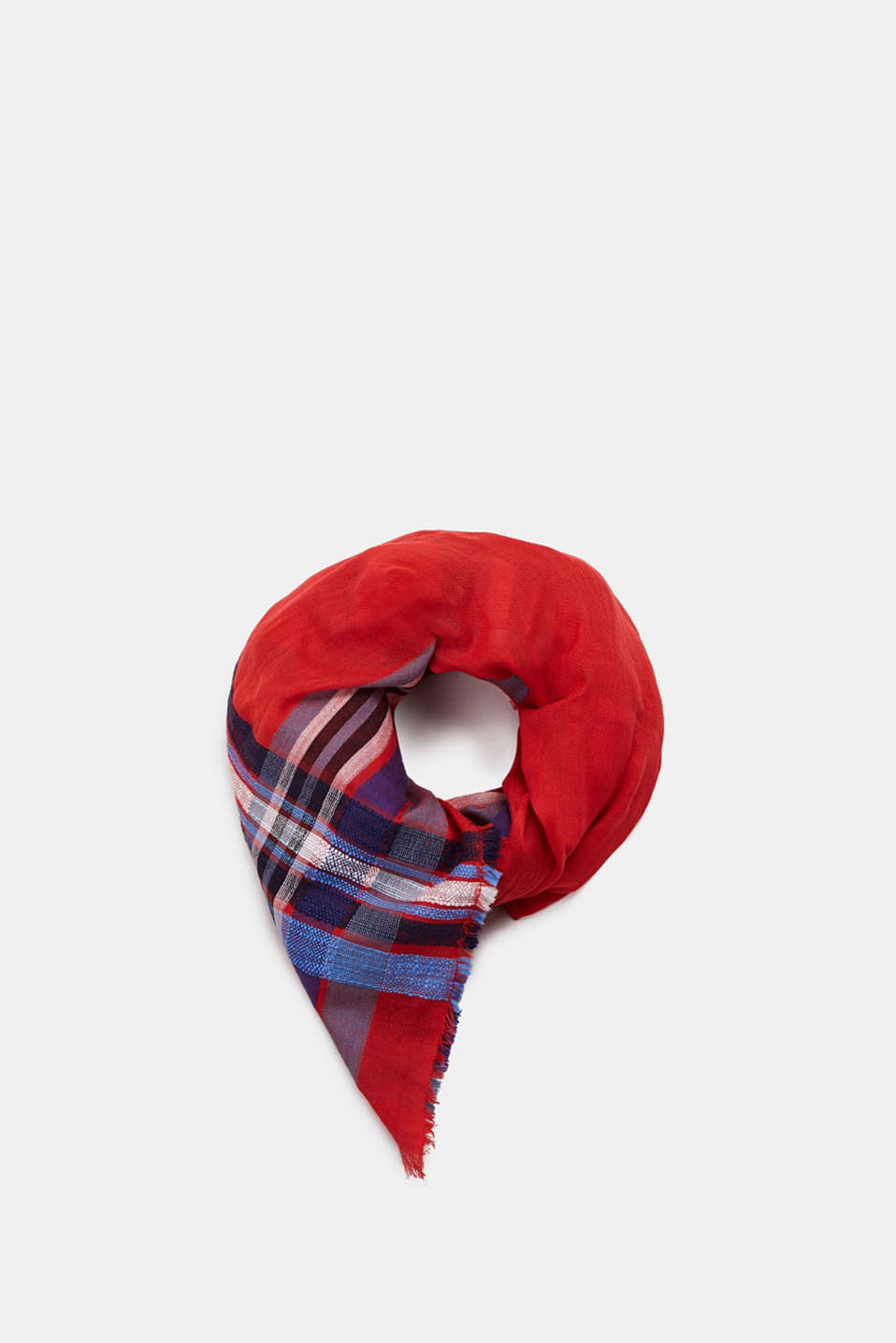 Esprit - Woven scarf with a checked pattern in blended cotton