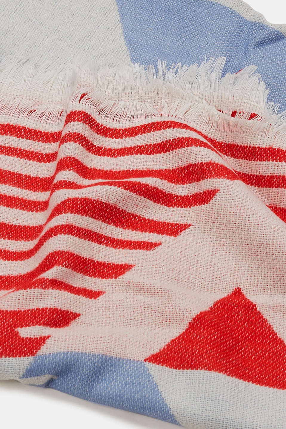 Scarf with a geometric pattern, RED, detail image number 2