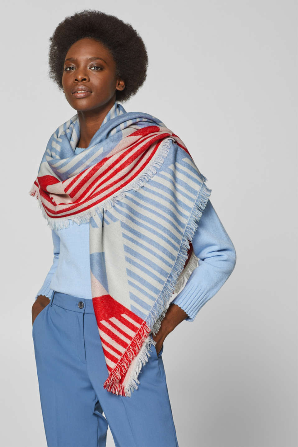 Scarf with a geometric pattern, RED, detail image number 1