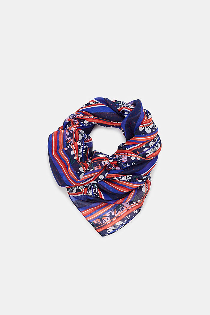 Mixed pattern scarf, NAVY, detail image number 0