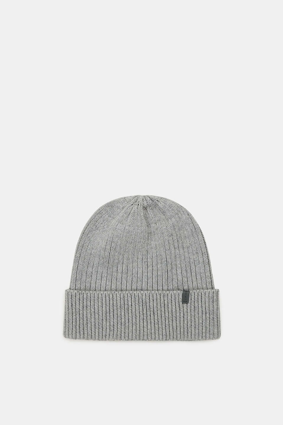 Esprit - Containing wool: cap with a ribbed pattern