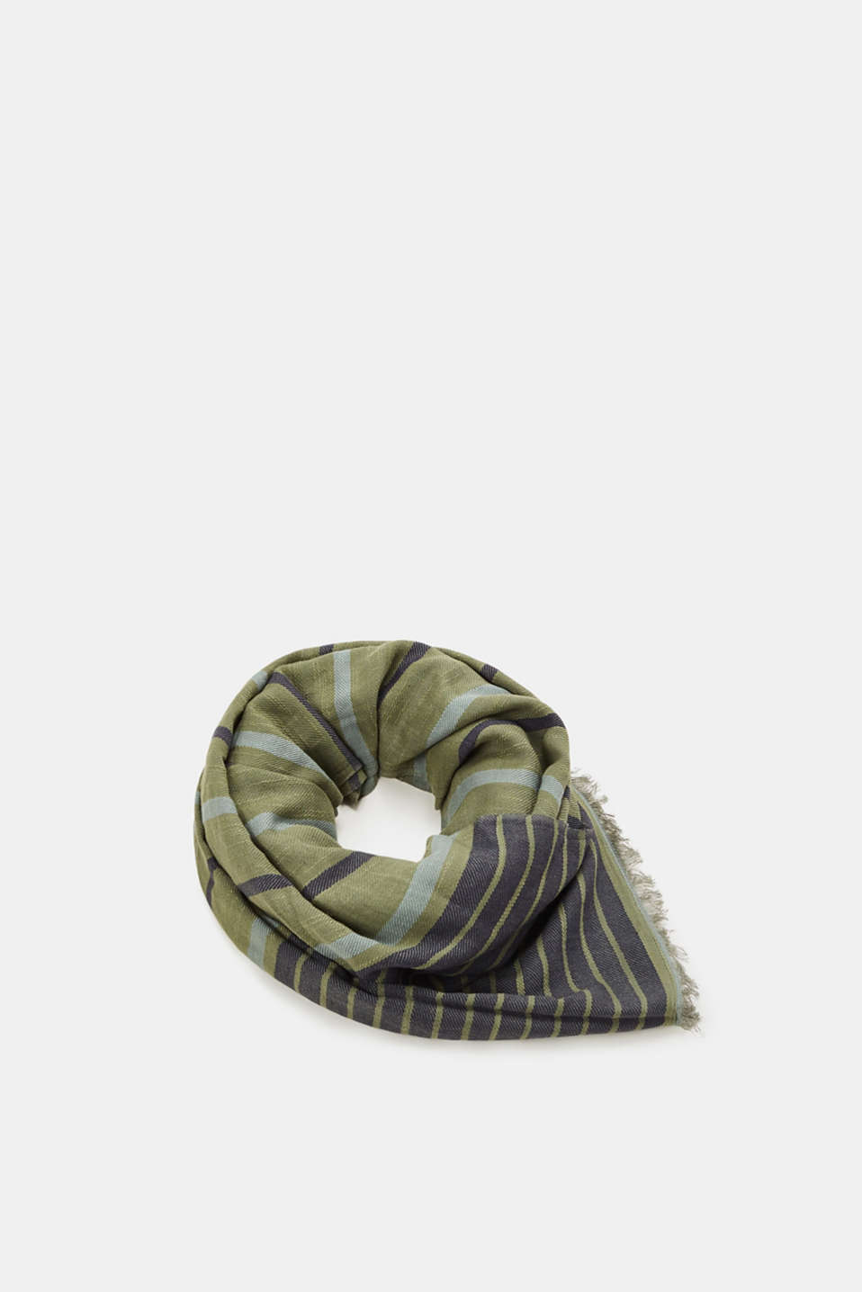 Esprit - Striped woven scarf in blended cotton